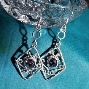 .925 Sterling Silver Mystic Topaz Hook Earrings